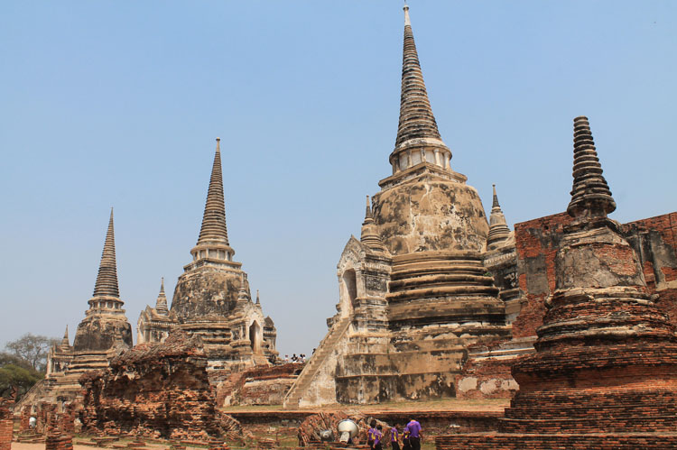 Cycling to the ruins in Ayutthaya, Thailand -- 3 white towers