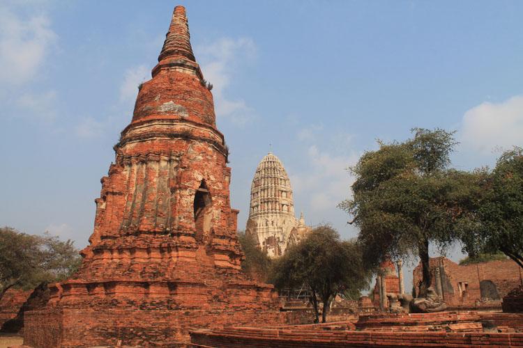 Cycling to the ruins in Ayutthaya, Thailand -- Wat Ratchaburana
