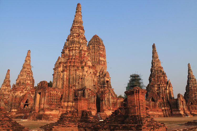 Cycling to the ruins in Ayutthaya, Thailand -- ruins of the old capital