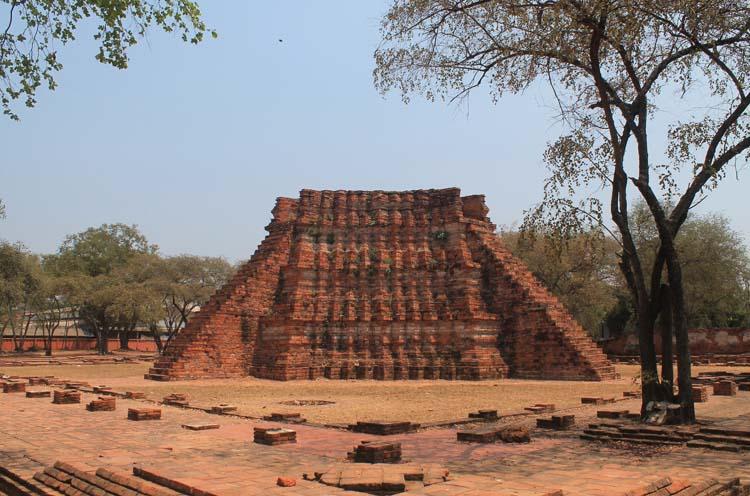 Cycling to the ruins in Ayutthaya, Thailand -- pyramid ruins