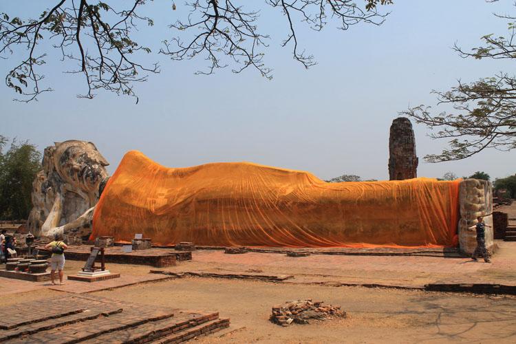 Cycling to the ruins in Ayutthaya, Thailand -- Wat Lokayasutharam Reclining Buddha