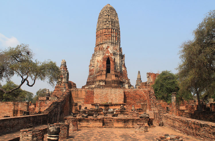 Cycling to the ruins in Ayutthaya, Thailand -- Wat Phra Ram