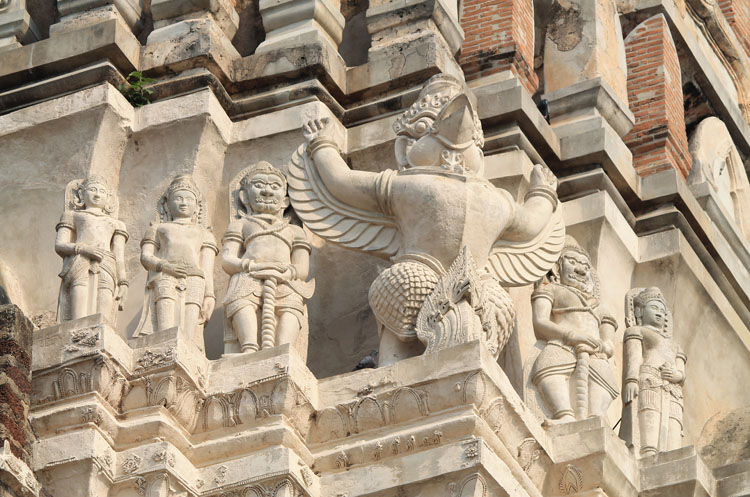 Cycling to the ruins in Ayutthaya, Thailand -- Wat Ratchaburana reliefs