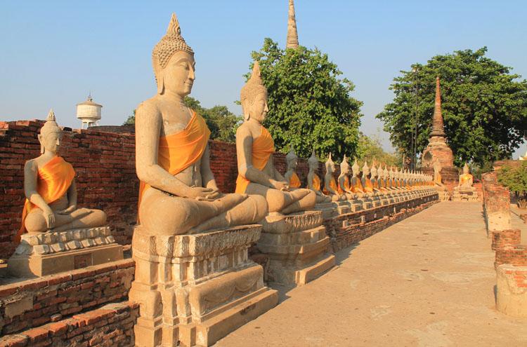 Cycling to the ruins in Ayutthaya, Thailand -- Wat Yai Chai Mongkhon