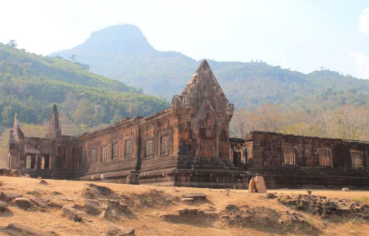 A palace at Wat Phu (Vat Phou) -- Khmer ruins in Laos