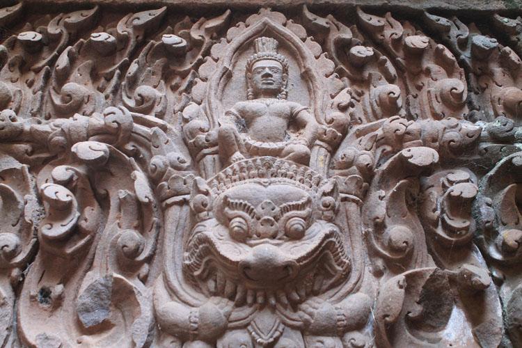 Vishnu and Garuda at Wat Phu (Vat Phou) -- Khmer ruins in Laos