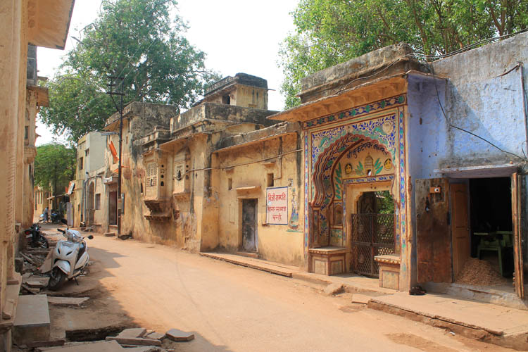 The streets of Bundi, Rajasthan, India -- colourful old buildings