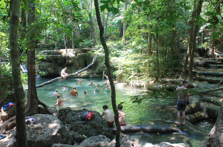 Kanchanaburi travel guide, Thailand -- swimming at Erawan Falls