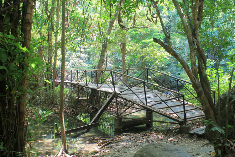 Kanchanaburi travel guide, Thailand -- a bridge at Erawan Falls
