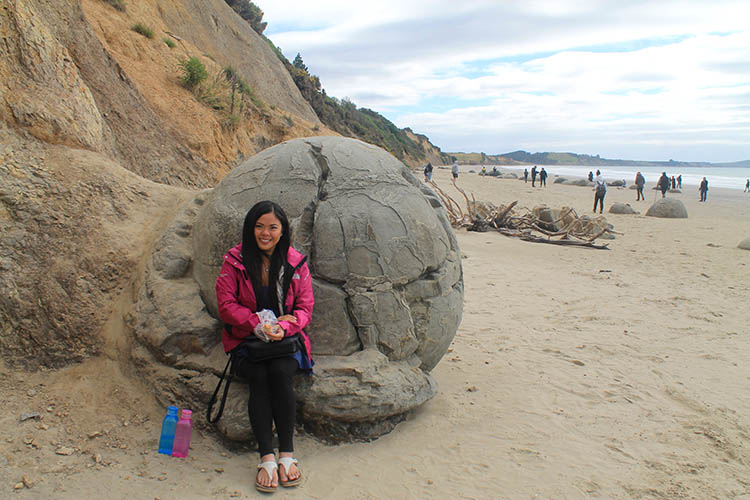 Stopping by Moeraki Boulders on the way from Dunedin to Mount Cook, New Zealand