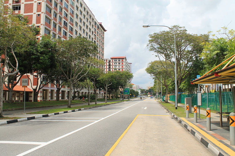A typical street in a Singapore suburb - street 32 in Tampines