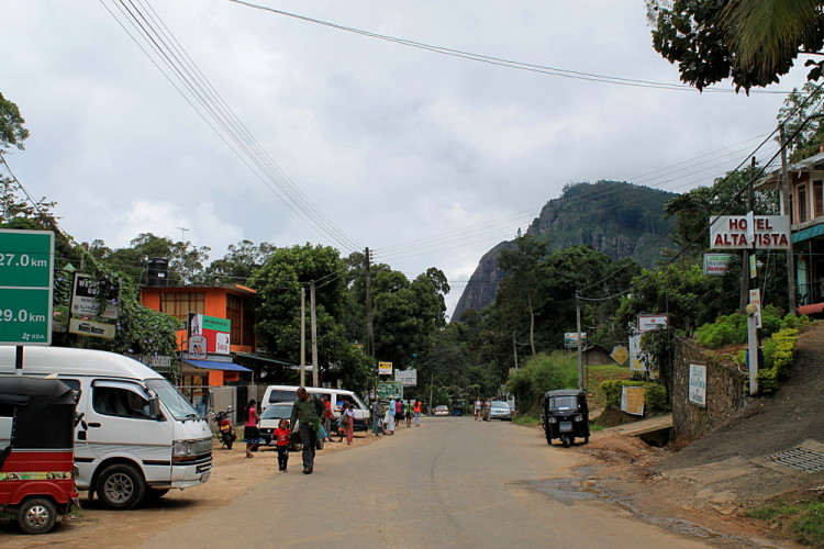 The main street in Ella, a town in the hill country in Sri Lanka
