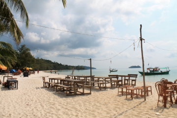 The main beach on Koh Rong,a beautiful and relaxing island in Cambodia