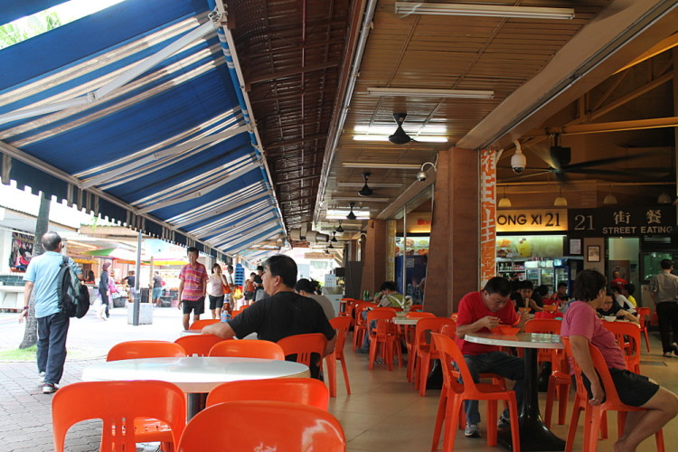 A suburban Singapore hawker centre in Tampines