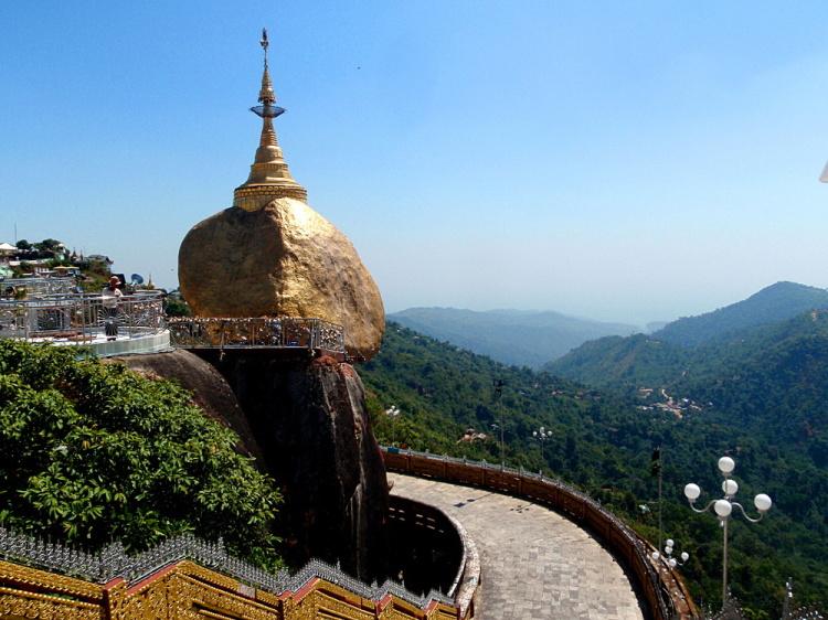 The golden rock pagoda in Myanmar