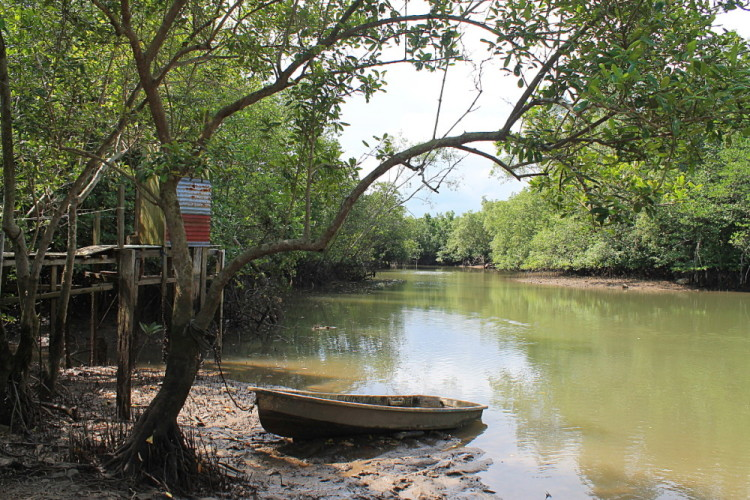 A boat on Pulau Ubin, a relaxing spot in Singapore