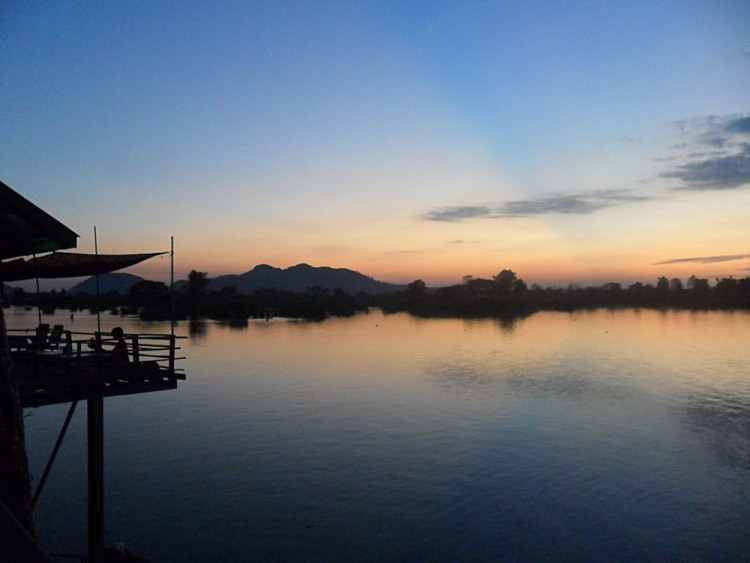 A restaurant on the sunset side of Don Det, 4000 islands, Laos