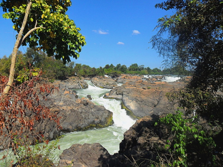 A waterfall on Don Khon, accessed via a bridge from Don Det, 4000 islands, Laos