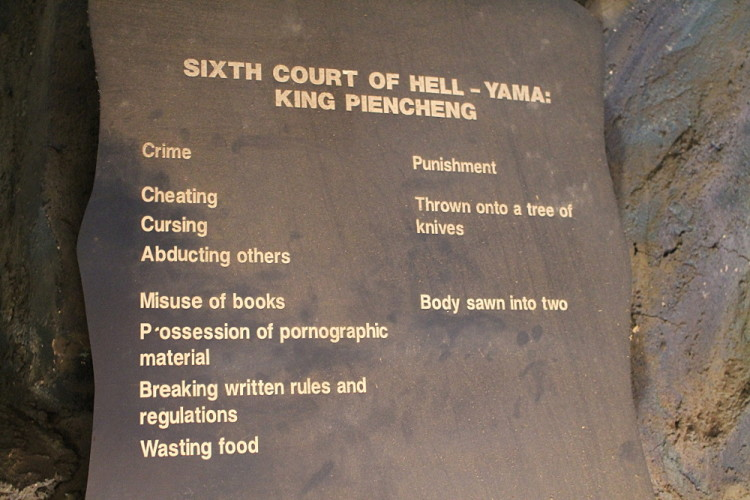 The punishments in the 10 Courts of Hell at Haw Par Villa, Singapore