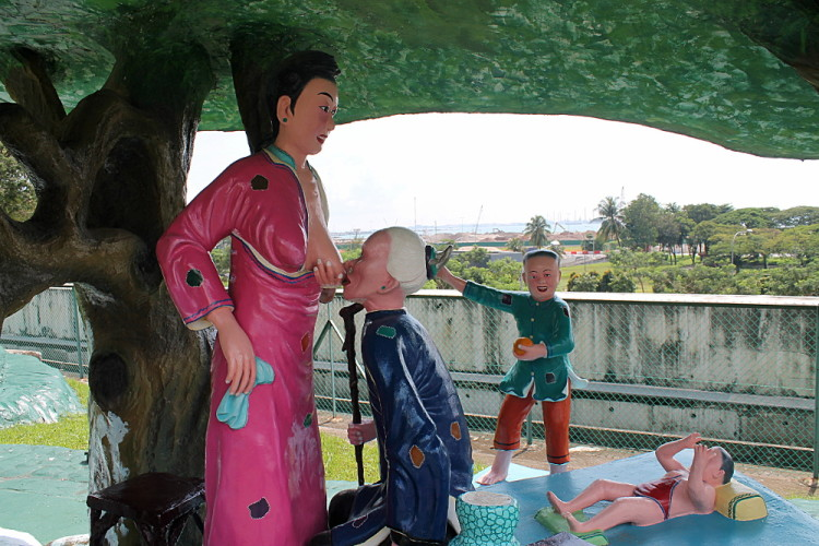 Creepy breastfeeding at Haw Par Villa, Singapore