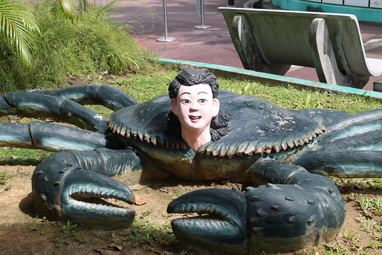 A crab boy at Haw Par Villa, Singapore