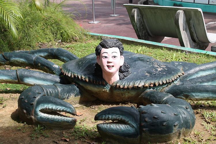 A crab boy at Haw Par Villa, Singapore