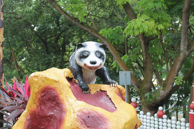 A creepy panda at Haw Par Villa, Singapore
