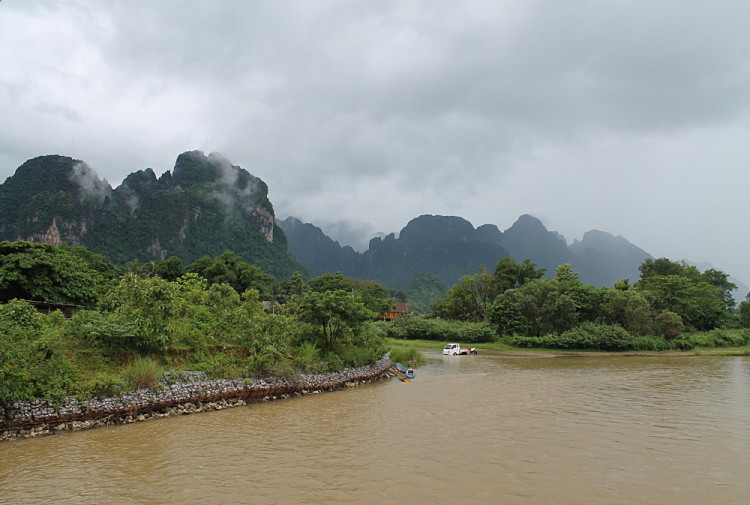The river in Vang Vieng, which you can still go tubing down