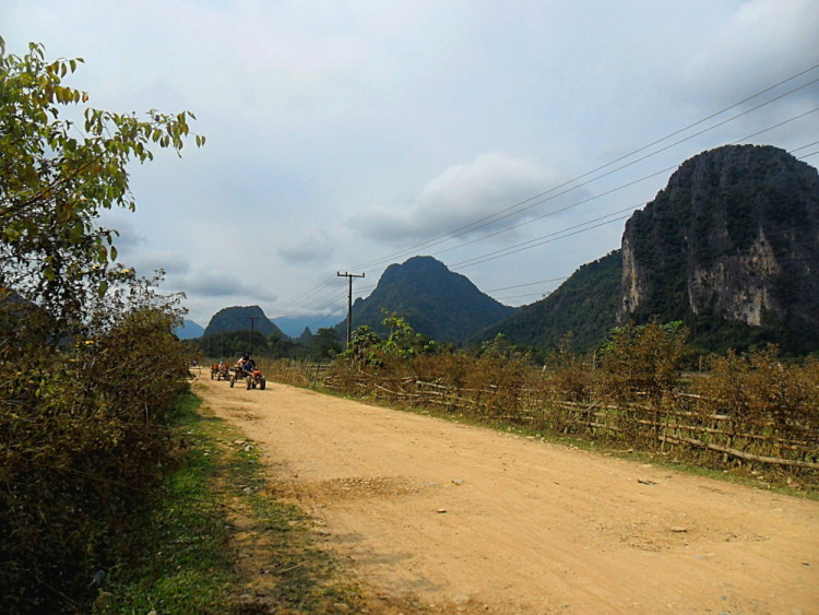 A dirt road on the outskirts of Vang Vieng, Laos