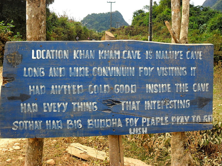 A sign during a bike ride in Vang Vieng, Laos