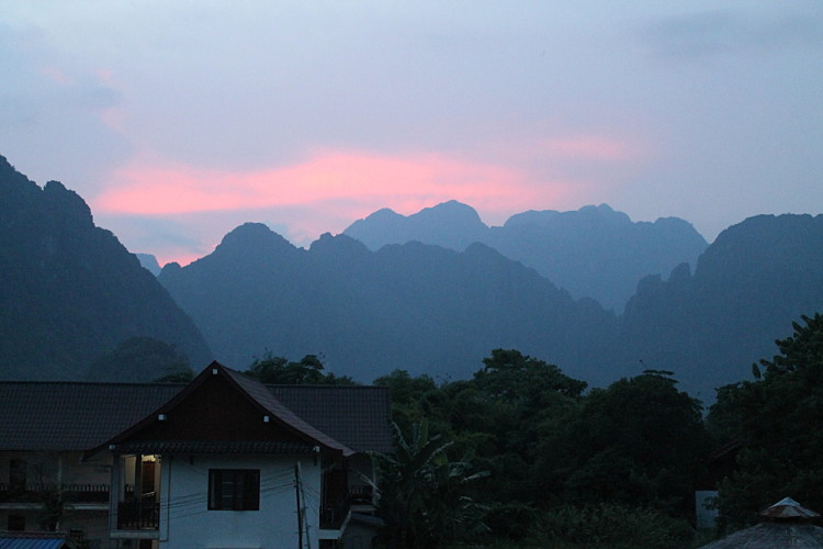 A sunset in Vang Vieng, Laos