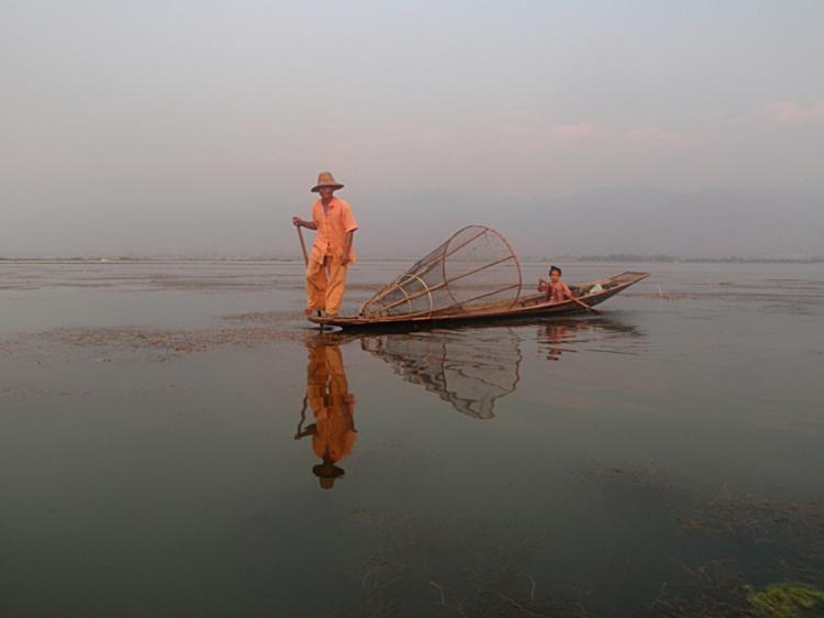 A fisherman and his daughter on Inle Lake, Burma (Myanmar)