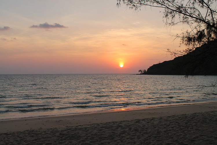 A sunset at Lazy Beach, Koh Rong Samloem, Cambodia