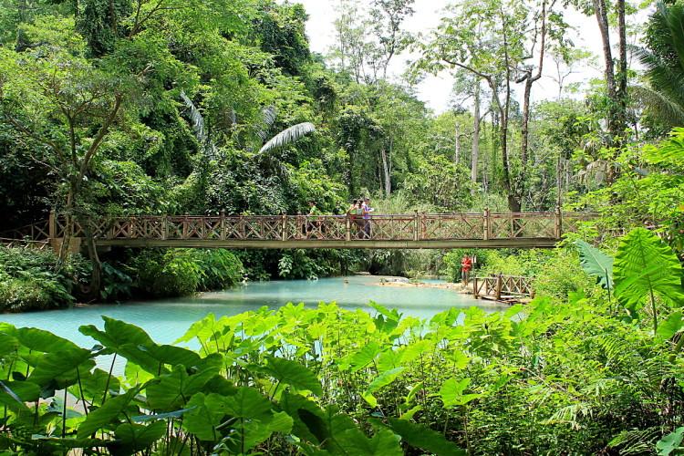 A bridge at Kuang Si Falls, Luang Prabang, Laos