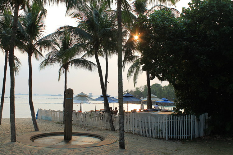 Sunset at Palawan Beach, Sentosa Island, one of the best beaches in Singapore