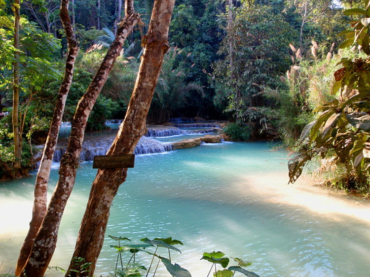 blue pools at Kuang Si Falls, Luang Prabang, Laos