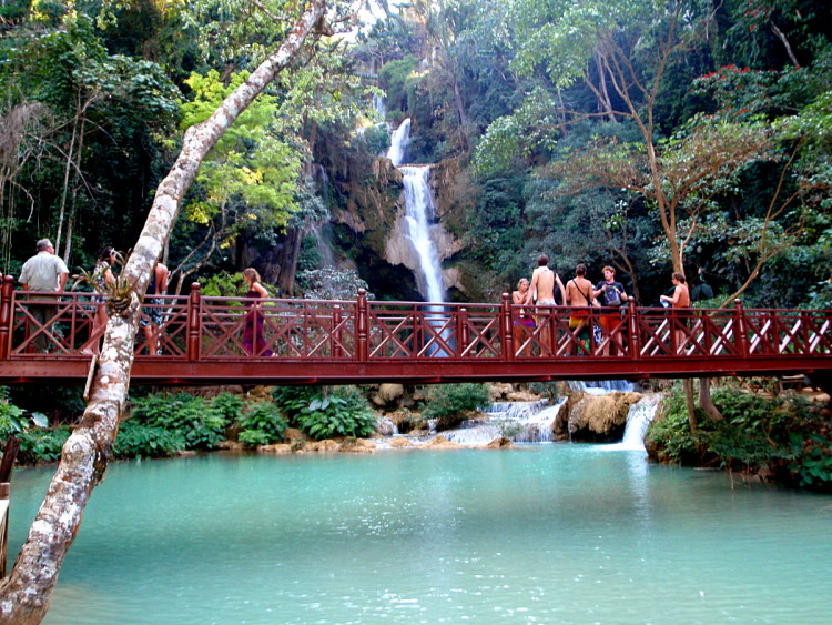 The waterfall at Kuang Si Falls, Luang Prabang, Laos