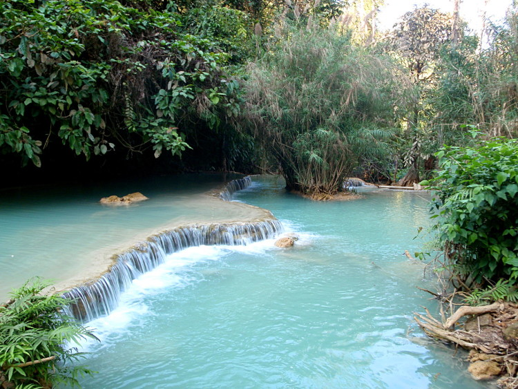 A swimming hole at Kuang Si Falls, Luang Prabang, Laos