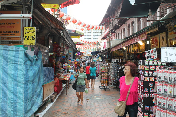 Shopping street in Chinatown, one of the historical districts in Singapore