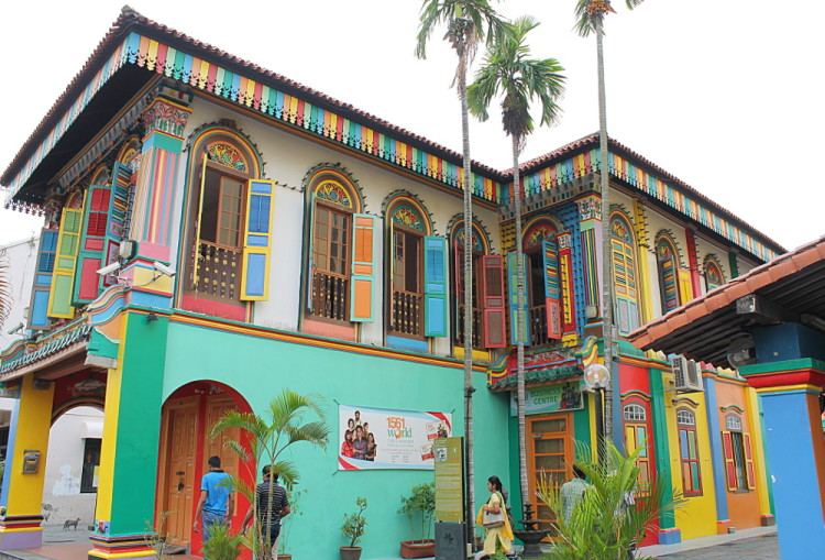 Colourful building in Little India, one of the historical districts in Singapore