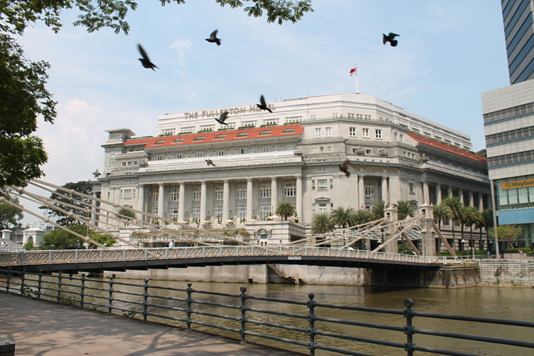 The Fullerton Hotel in the downtown area, one of the historical districts in Singapore