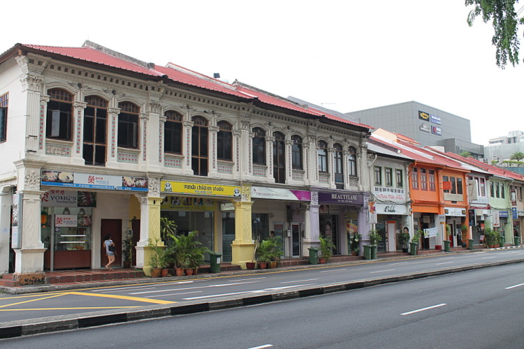 Shophouses in Katong, one of the historical districts in Singapore