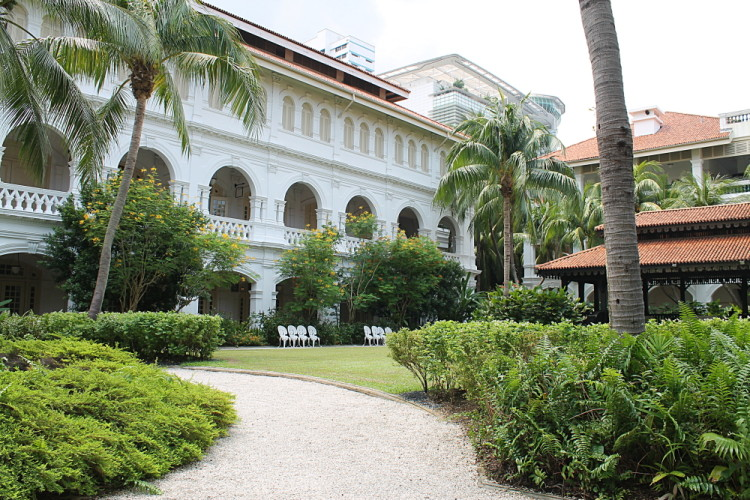 Courtyard at Raffles Hotel, an interesting attraction to visit if you have 2 days in Singapore