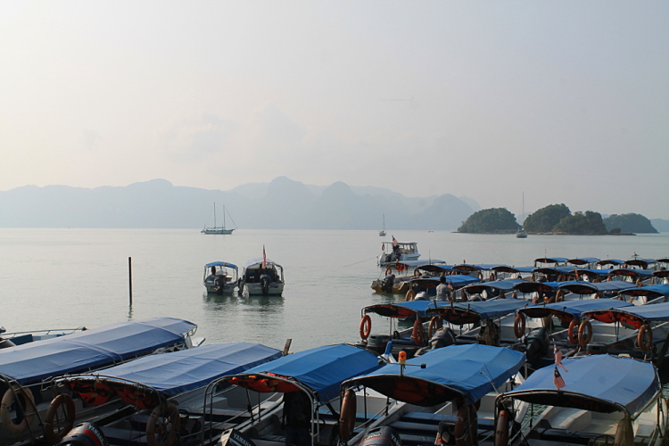 Boats getting ready to go island hopping in Langkawi, Malaysia