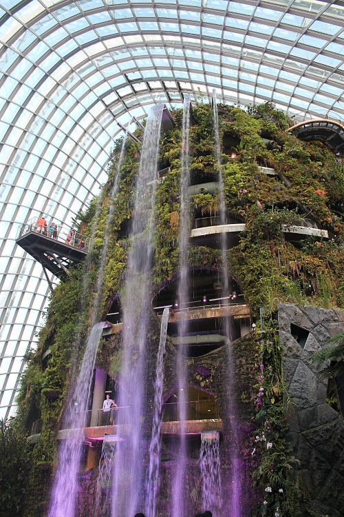 A waterfall in the cloud forest in Gardens by the Bay, Singapore