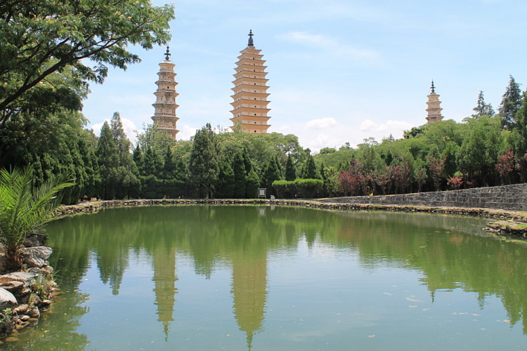 A Photo from the reflection pool of The Three Pagodas in Dali Old Town, Yunnan, China