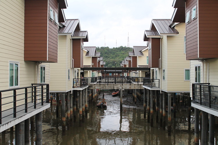 New houses in Kampong Ayer, the largest water village in the world
