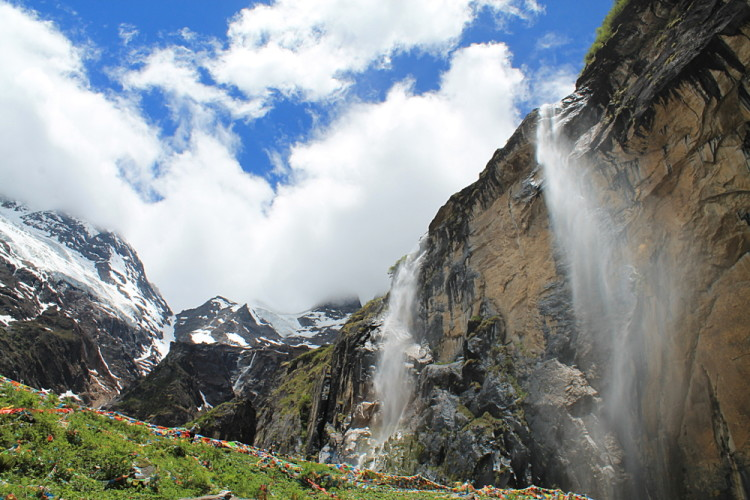 The sacred waterfall in Yubeng, Yunnan, China