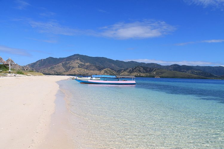 Boats on the beach in the 17 Islands Marine Park in Riung, Flores, Indonesia