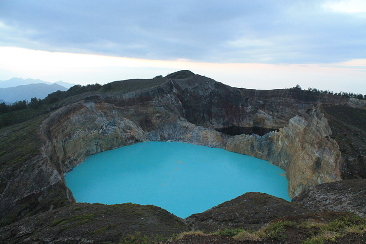The blue lake on Mt Kelimutu, Flores, Indonesia